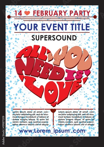 Aluminium Vintage Poster Valentines day poster / Creative valentines conceptual vector. Valentines day poster.