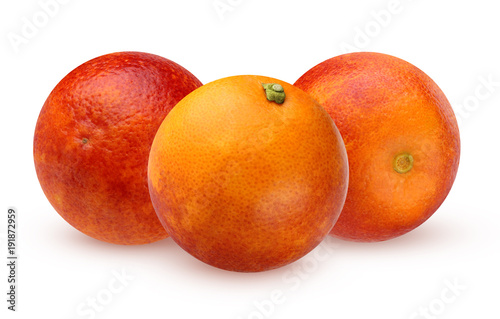 Three bloody red oranges isolated on white background