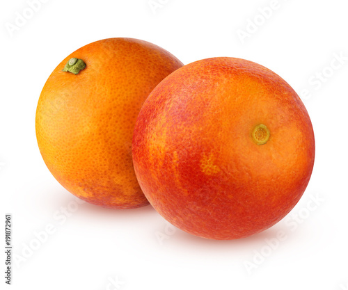 Two bloody red oranges isolated on white background