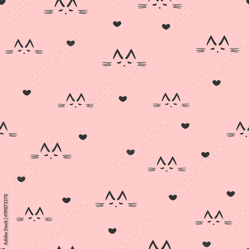 fototapeta na ścianę Repeated sketches of a cat's face and silhouettes of hearts. Cute seamless pattern.