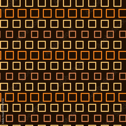 Abstract seamless pattern, endless texture of orange squares on dark background