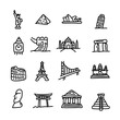 set of travel landmarks icon set vector illustration sketch hand drawn with black lines, isolated on white background