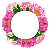 Illustration with Pink Peonies, Green Leaves and Round Place for Text - 191879150