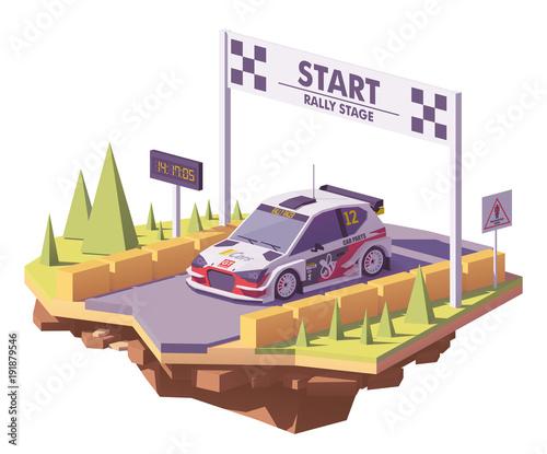 Vector low poly rally racing car