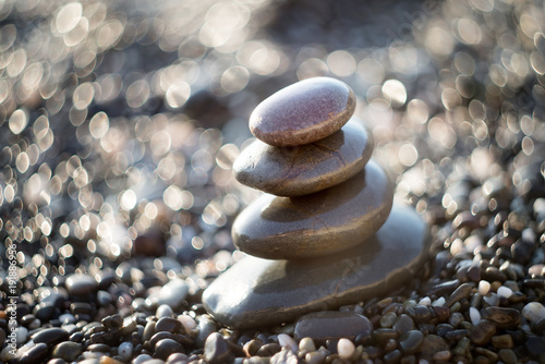 Staande foto Zen Zen stones on gravel, symbol of buddhism