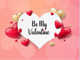 2018 Valentine's day background with textbox and beautifull hearts. Vector illustration - 191889322