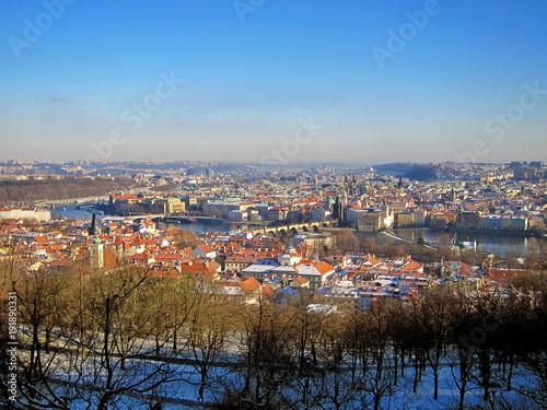Fotobehang Praag Prag, Blick vom Petrin auf die Karlsbrücke, Moldau