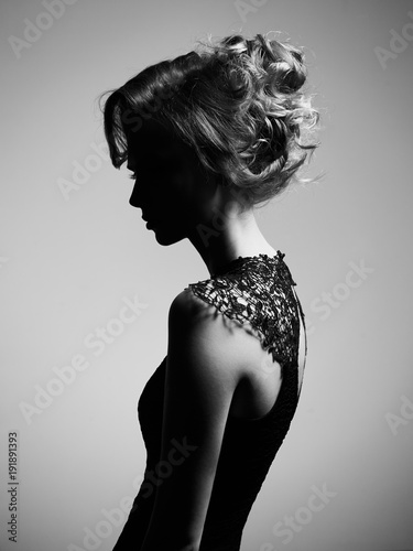 Fotobehang womenART Beautiful young lady on gray background