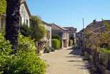 A quiet picturesque street in Pujols, Lot-et-Garonne, France. This historic village  is a member of