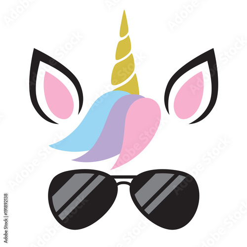 Vector illustration of cute unicorn face wearing sunglasses.