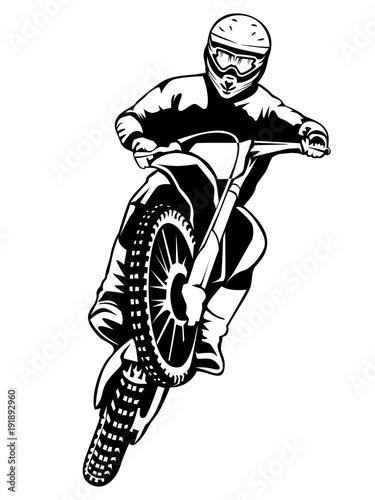 Motobike racer isolated on white