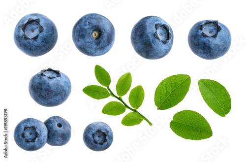 Blueberries isolated on white background without shadow set - 191893199