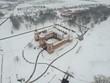 Not Castle in Belarus. Flying above in the winter - 191894104