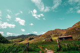 Wide-angle view of summer landscape: old metal gates with feeding ground behind, shepherd's house and abandoned shack, hills range recedes into the distance; Altai mountains, Russia, Kuyus district