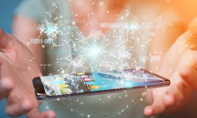 Businesswoman using digital binary code on mobile phone 3D rendering
