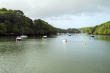 Peaceful early summer morning on picturesque boat moorings in the Helford Estuary at old fashioned Port Navas, Cornwall, UK - 191897522
