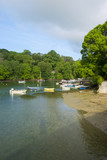 Peaceful early summer morning on picturesque boat moorings in the Helford Estuary at old fashioned Port Navas, Cornwall, UK - 191897977