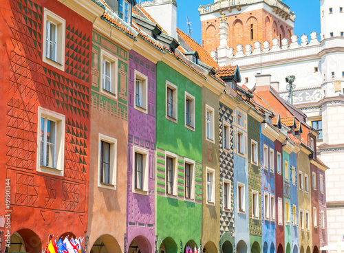 Fototapety, obrazy : colorful buildings in Old Town of Poznan, Poland