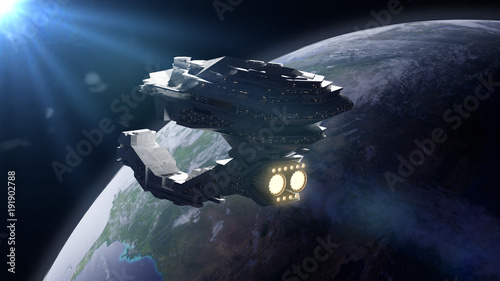 huge spaceship in orbit of planet Earth, spacecraft in outer space
