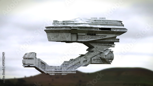 Keuken foto achterwand Grijze traf. futuristic spaceship flying over a landscape (3d science fiction space illustration)