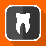Tooth vector icon. Flat design square internet gray button on orange background.