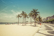 Quadro Sunny day on Copacabana Beach with palm trees in Rio de Janeiro, Brazil. Vintage colors