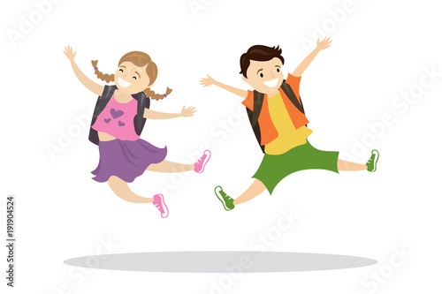 Happy caucasian kids with backpacks in a jump