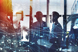 Fototapety Businessmen that work together in office with network connection effect. Concept of teamwork and partnership. double exposure