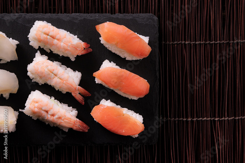 Keuken foto achterwand Sushi bar Sushi japanese food various top view
