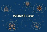 Conceptual business illustration with the words workflow - 191916966