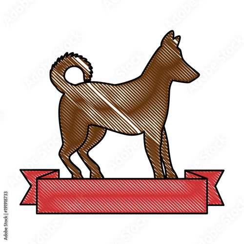 dog silhouette with ribbon vector illustration design