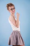 Elegant woman pretending wearing eyeglasses - 191919575