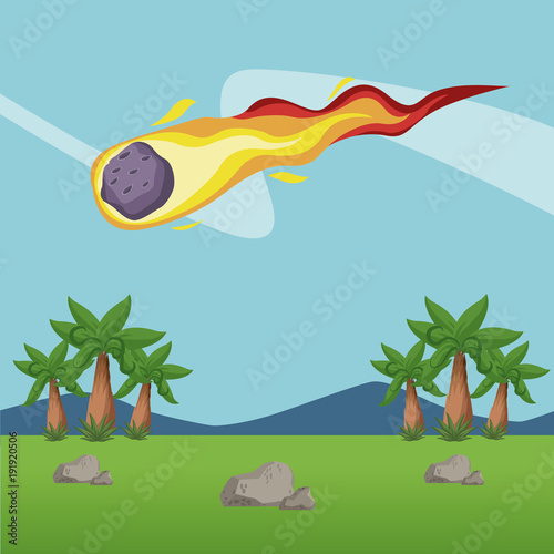 Meteor falling in forest icon vector illustration graphic design