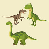 Dinosaurs Elements Cartoon Icon  Illustration Graphic Design Wall Sticker