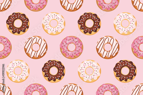 obraz PCV Seamless pattern with glazed donuts. Pink colors. Girly. For print and web.