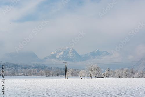 Foto op Canvas Donkergrijs Beautiful frosty winterlandscape