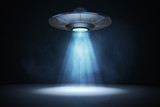 Light beam from flying UFO (alien spaceship). 3D rendered illustration. - 191929174