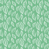 Hand drawn leaf seamless pattern. Tea leaves vector illustration. Repeatable background with botanical motif. - 191929507
