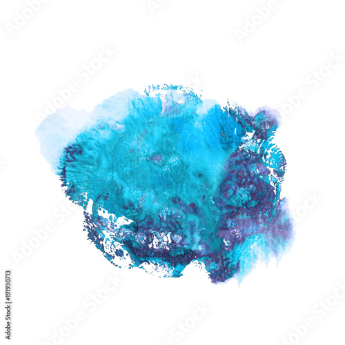 Abstract acrylic paint monotyped spot. Blue and violet bright colors. Vector illustration isolated on white background. Coral shaped imprint.