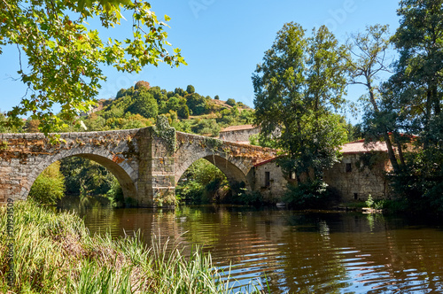 Medieval bridge over Arnoia river in Allariz Ourense, Spain