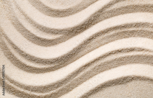 Staande foto Zen Zen sand and stone garden with raked lines, curves and circles. Simplicity, concentration or calmness abstract concept