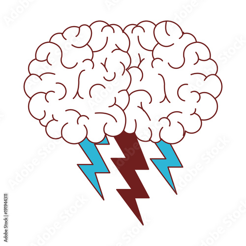 brain with thunders icon vector illustration design © grgroup