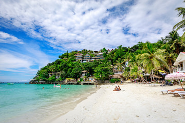 Diniwid beach view, white-sand beach in Boracay Island in the Philippine