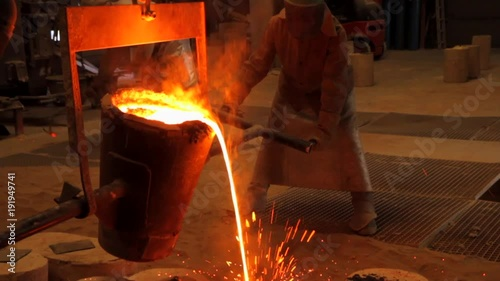 pouring metal in mold