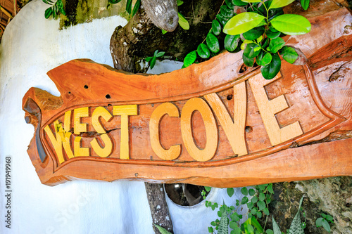 Foto Murales Signboard of West Cove Resort, which is famous landmark in Boracay Island in the Philippine