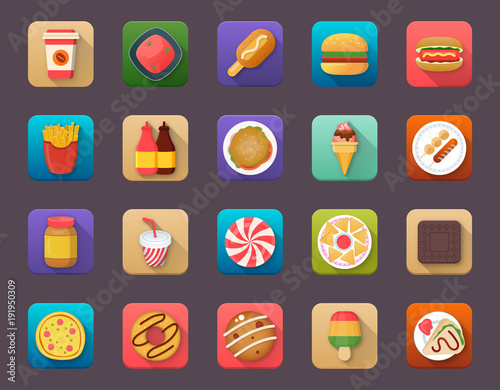 Pack Of Food Elements Flat Vector Icons
