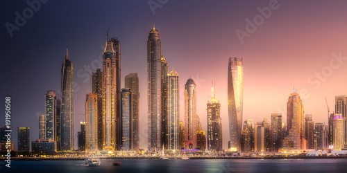 Tuinposter Dubai Dubai Marina bay view from Palm Jumeirah, UAE