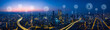 Leinwanddruck Bild - Panorama aerial view in the  cityscape skyline  with smart services and icons, internet of things, networks and augmented reality concept , early morning sunrise scene .