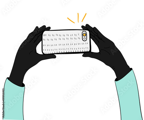 Illustration of hand holding mobile phone