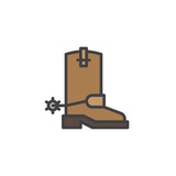 Cowboy boots filled outline icon, line vector sign, linear colorful pictogram isolated on white. Symbol, logo illustration. Pixel perfect vector graphics - 191956987